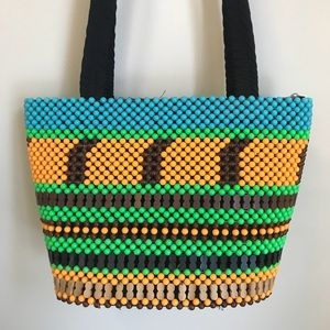 Vintage Bags - Neon plastic and wooden beads purse